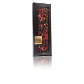 ChocoMe-Ciocolată neagră cu fistic și vișine. 110g