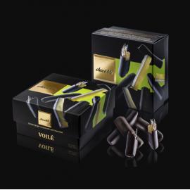 Voilé - Ghimbir glasat învelite în ciocolată neagră 120g